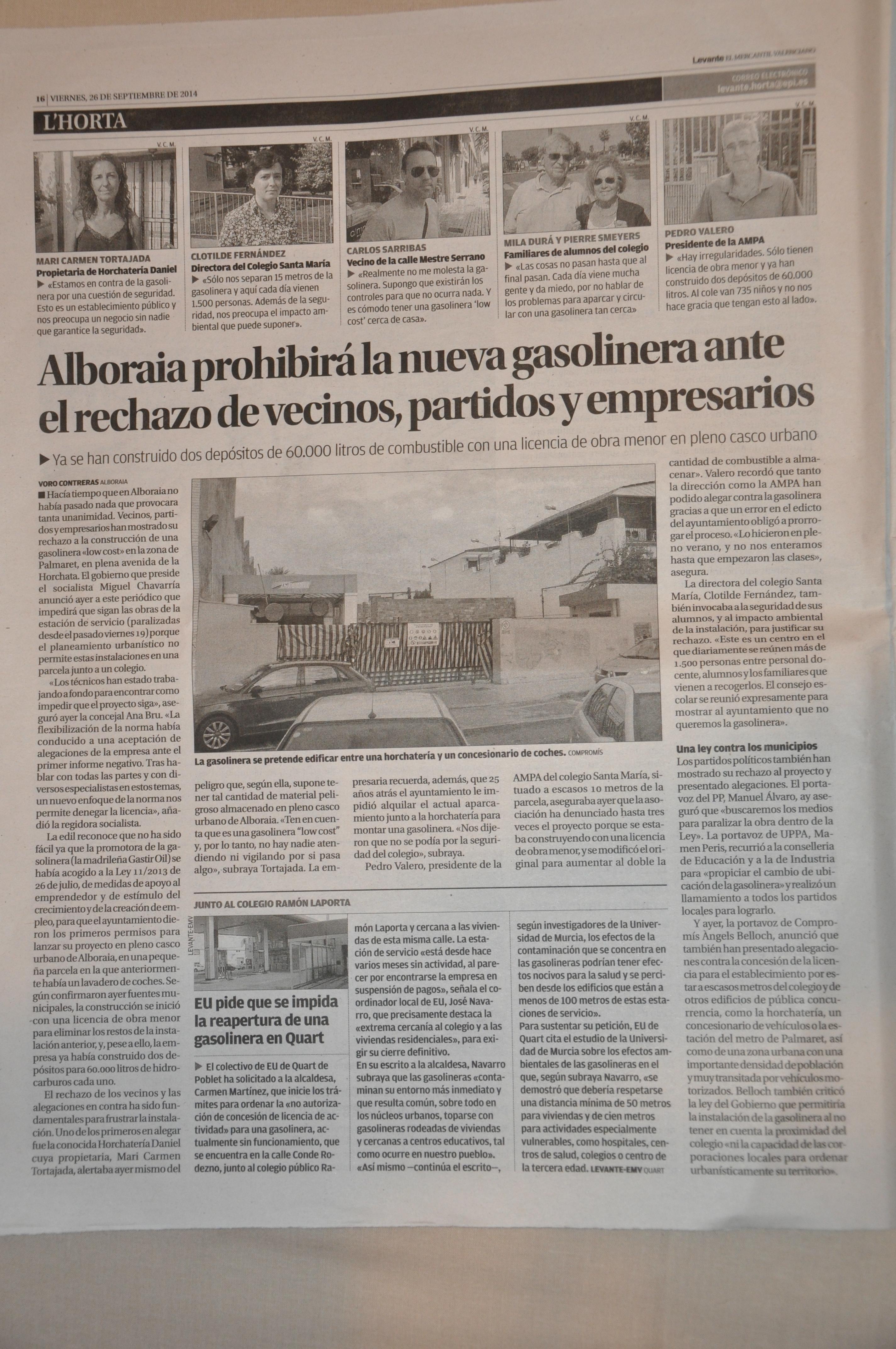 Publicaci'on Levante 26-09-2014